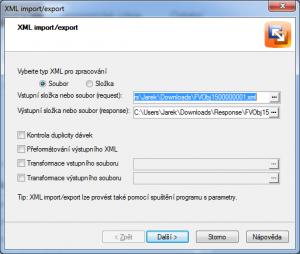Pohoda - výběr souboru pro import XML  z Runis.eu